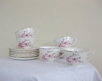 Set of 6 Cups and Saucers W. S. George China Peach Blossoms Bolero Pattern, Pink Flowers on Branch, Mid Century Dishes More Plates available