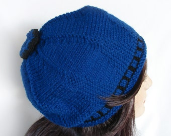 Woman's Knit Hat Royal Blue and Black Knit Hat Women's Knit Hat Blue and Black Knit Beanie Hat Women's Knit Winter Hat Woman's Winter Hat