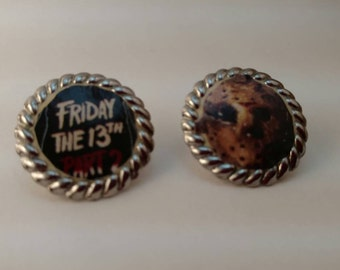 Friday the 13th Jason Voorhees Round Silver Earrings