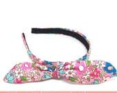 SALE Tiny Flower Print Tied Knot Bow Headband - Girly Pink Floral - Preppy Boutique Flower Print Headband- Little Girl Headbands, Adult H...