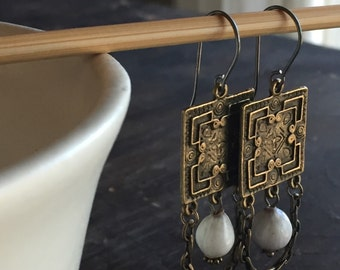 No. 067 - Brass Square Earrings with White Job's Tear - Gentleness