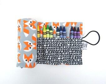Crayon Roll - Picture Pie Fox - 24 crayons, stocking stuffer, kids art supplies, organic, fox party