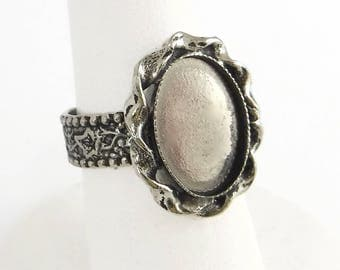 Silver Ring Blanks 2 pcs 14x10 Cabochon Adjustable Vintage Antique Silver Ring R-10