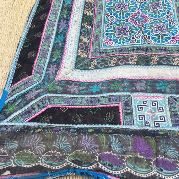 Vintage hmong baby carrier velvet with hand embroidery