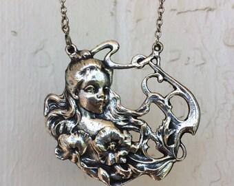 Art Nouveau Style Maiden Flowers Silver Necklace