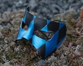 Black and Blue Diamond Leather Masquerade Mask