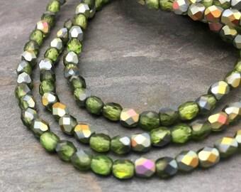 Olivine Matte AB Fire polished 4mm Czech Glass Beads