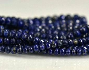 Lapis Rondelles AAA Micro Faceted Lapis Gemstone Beads 3-5.5mm, 8 inches