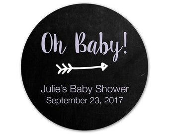 Personalized Baby Shower Stickers - Oh Baby - Arrow Labels - Favor Stickers - Trendy Shower Labels - Baby Shower Stickers - Favor Labels