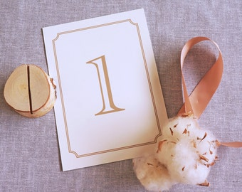 Wedding Table Number, Set of 10, 5x7, Table Number Set, Classic, Gold, Wedding Decor, Table Decoration, Paper Table Number, Quick Ship