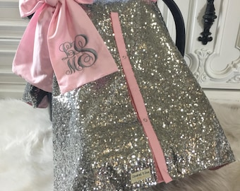 Silver sparkle car seat canopy with bow and name / carseat cover / carseat canopy / ooak / sequin / infant car seat cover / silver / sparkle