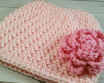 Crochet Messy Bun Hat Ponytail Beanie messy bun hat with flower ear warmer kids ponytail hat