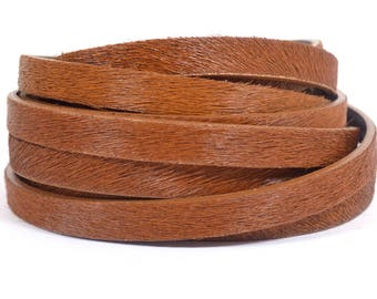 10mm Flat Hair-on Leather - Whiskey - 10MFH-7 - Choose Your Length