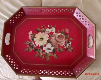 LABOR DaY SALE Vintage RED Tole Tray Reticulated Handles 20 X 15