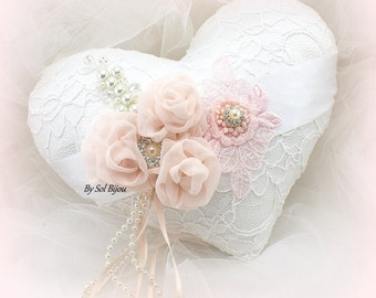 Wedding Ring Pillow, White, Blush, Pink, Heart Pillow, Vintage Wedding, Elegant, Lace Ring Pillow, Gatsby, Pearls, Brooch, Crystals