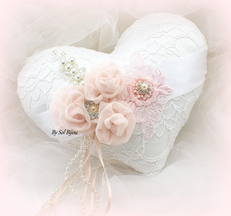 Wedding Ring Pillow White Blush Pink Heart Pillow Vintage
