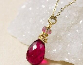 CHRISTMAS SALE Gold Juicy Pink Tourmaline Necklace - Watermelon Tourmaline - October Tourmaline Necklace