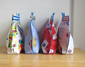 Transportation Upcycled Snack Bag - Reusable Eco Friendly Fabric Baggie / Pouch - Sandwich / Lunch / Treat Bag - Baby / Toddler - Boy School