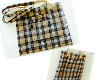 Tartan - Plaid - Purse - Tote - Camel - Black - White - Wool Kilt - Buckles - Scotland - Celtic - Recycled - Romantic - Black - Red - UNIQUE