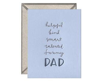 Dad Attributes Father's Day letterpress card