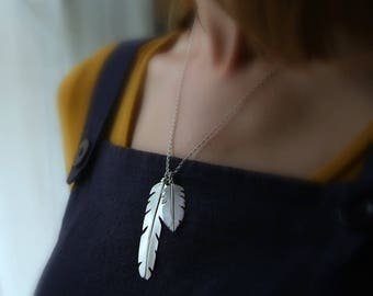 Silver Feather Necklace | Double Feather Pendant | Boho Silver Jewelry | Nature Jewelry | Sterling Silver Feather | Handmade in UK