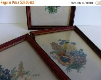 Christmas Sale Vintage Flower Prints Donald Art Co Inc Numbered Made in USA Floral wall hanging Framed Art
