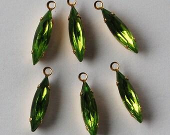 Vintage Glass Marquis Beads 6 Olivine Green Navette Pendant Bead • 15x4mm • Brass Setting
