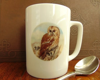 Vintage Hoot Owl Mug Porcelain China 1980s