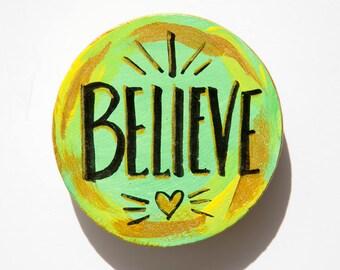 Believe Word Magnet, Spiritual Gift, Christian Gift, Hand Lettering, Small Art, Confirmation Favors, Fridge Magnet, Easter Gift