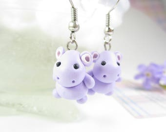 Cute Hippo Earrings, hippo jewelry, hippopotamus earrings, animal earrings, hippo gift, animal jewelry, cute earrings, polymer clay purple