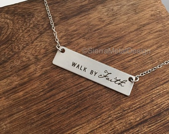 Walk by Faith Necklace Religious Necklace Bible Verse Necklace Religious Jewelry Stainless Steel Necklace Silver Necklace Bible Necklace