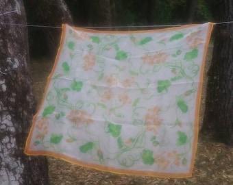 Vera Neumann spring floral scarf 1960s orange and green