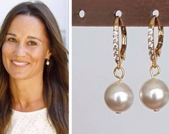 Pippa Middleton Gold Cubic Zirconia White Swarovski Pearl Drop Earrings
