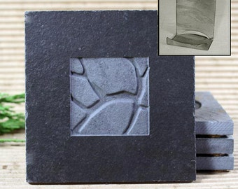Real Etched Stone Coaster Set with Holder - Baked Earth on Ebony Slate