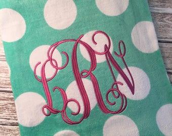Monogrammed Polka Dot Beach Towel