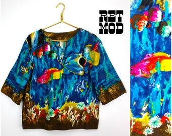 Vivid Vintage 50s 60s Blue Ocean Barkcloth Shirt with Fish!