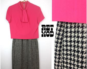Sassy Vintage 60s Pink with Black & White Houndstooth Bottom Dress with Detachable Top