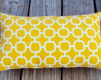 FREE SHIPPING 15x8 Indoor Outdoor Geometric Yellow and White Lumbar Pillow