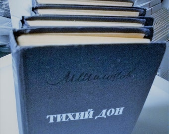 "VINTAGE set of 4 hardcover books  Russain Language by Mikhail Sholokhov ""& Quitley Flows the DON"""