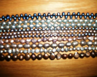 10 strands FW Pearls Shades of Gray , silver, bronze, blue beads craft  supply