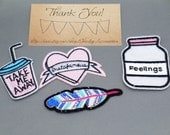 4 pc  Feather Jar of Feelings, Heart, Drink Iron On Patch Jacket Applique