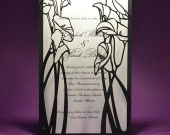 Calla Lily laser Wedding invitation