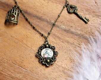 Free shipping - Necklace with Glass Cabochon Pendant