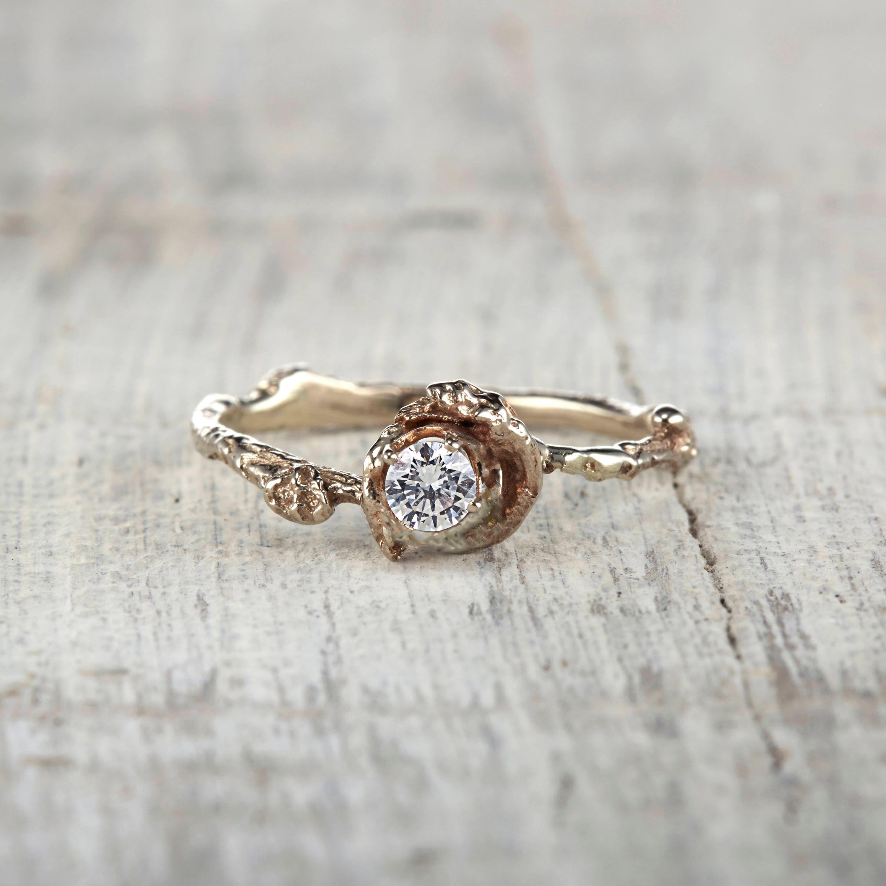 White Sapphire Engagement Ring Nature Inspired Twig Ring in