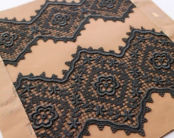 Very old famous swiss st gall black cotton lace - antique lace embroidery design personalise vintage sewing supply