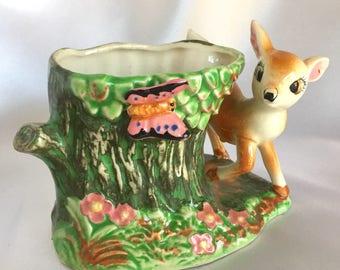 Vintage Mid Century Ceramic Bambi Deer Planter