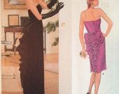 Vintage 80s Bellville Sassoon Vogue Dress Pattern 1275 34 bust UNCUT FF Strapless Back Ruffle