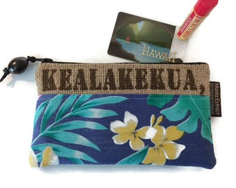 Kealakekua Pouch - Wallet with Kukui Nut Pull. Tropical Liner. Repurposed and Recycled Coffee Bag. Coffee Lover. Handmade in Hawaii.