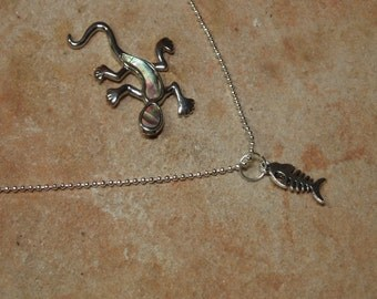 Solid 925 Sterling Silver Fish Necklace