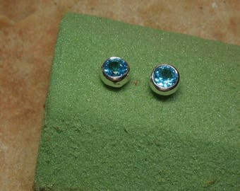 Genuine Blue Topaz Gemstone, 925 Silver Stud Earrings
